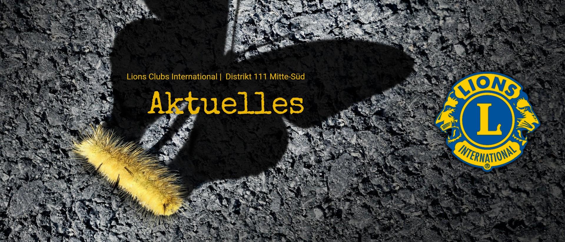 Schmetterlingslarve wirft einen Schmetterlingsschatten, Titel Aktuelles, Lions Logo